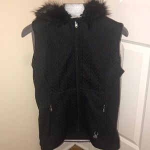 SPYDER HOODED CABLE CORE SWEATER VEST NWOT